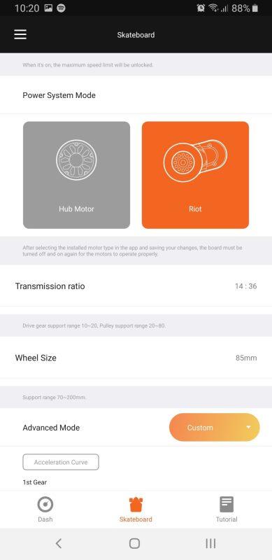 Exway app - drivetrain