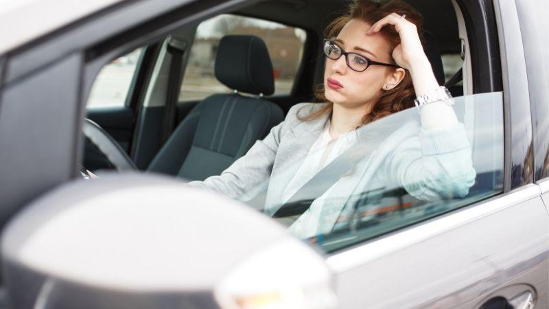 lady stuck in traffic