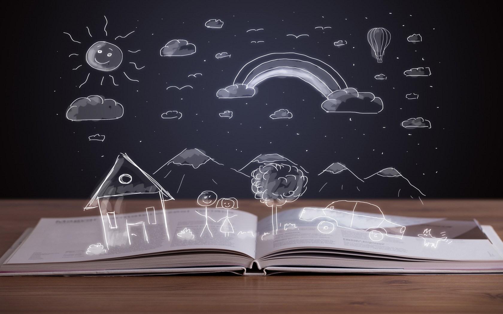 book-open-drawing-house-mountains-clouds-sun-car-girl-boy-dog-1.jpg (1680×1050)