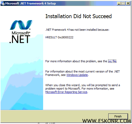 Net Framework 4 0 Failed With error Code: 0xc8000222 for