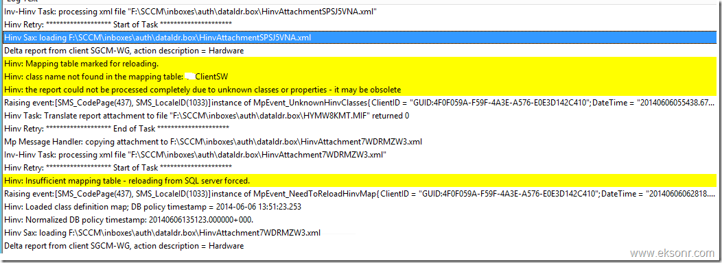 SCCM Configmgr 2012 Hardware Inventory Error class name not