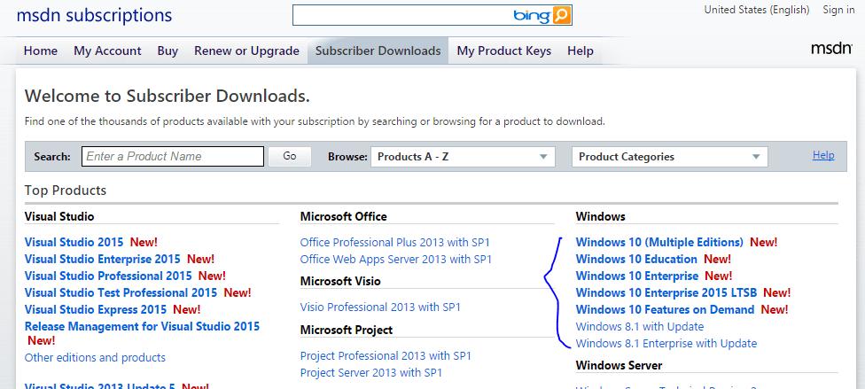 msdn windows 10 image download