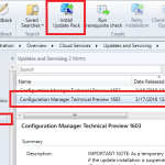 SCCM Configmgr Update 1603 available for Technical Preview 4
