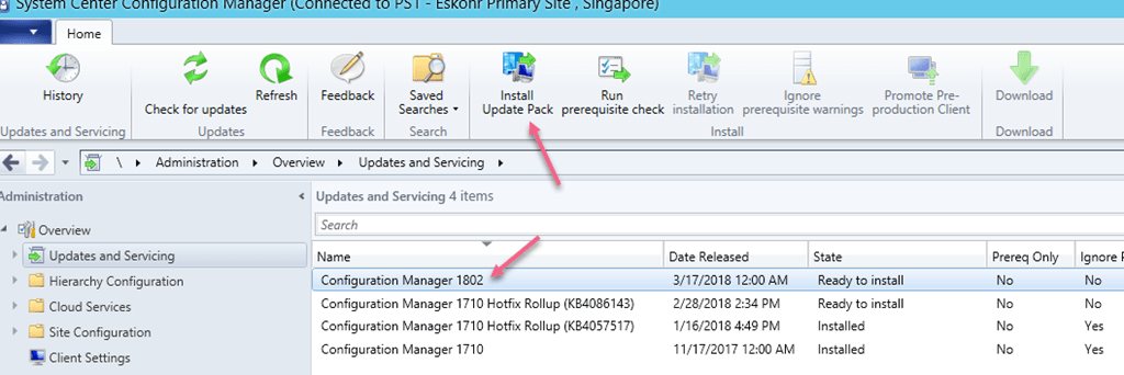SCCM Configmgr Current Branch 1802 is now available new