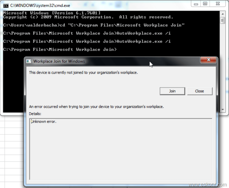 workplace join (Hybrid Azure AD Join) for windows failed with error