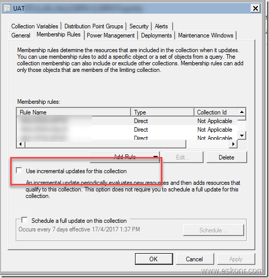 SCCM Configmgr monitoring Collection Evaluations and change update