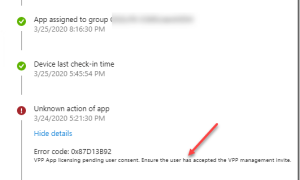 VPP App licensing pending user consent ensure the user has accepted the VPP management invite (0x87D13B92)