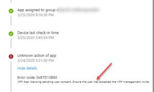 VPP App licensing pending user consent ensure the user has accepted the VPP management invite (0x87D13B92)