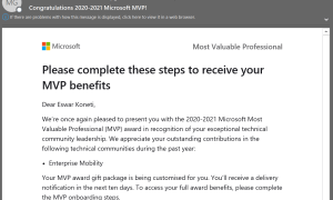 Microsoft MVP Award for 2020-2021 (4th Time)