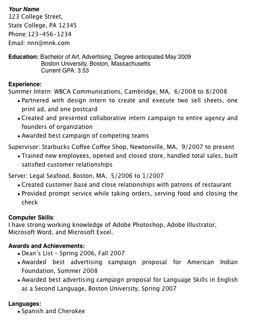 College student resume example no work experience – Sample Resume High School Student No Work Experience