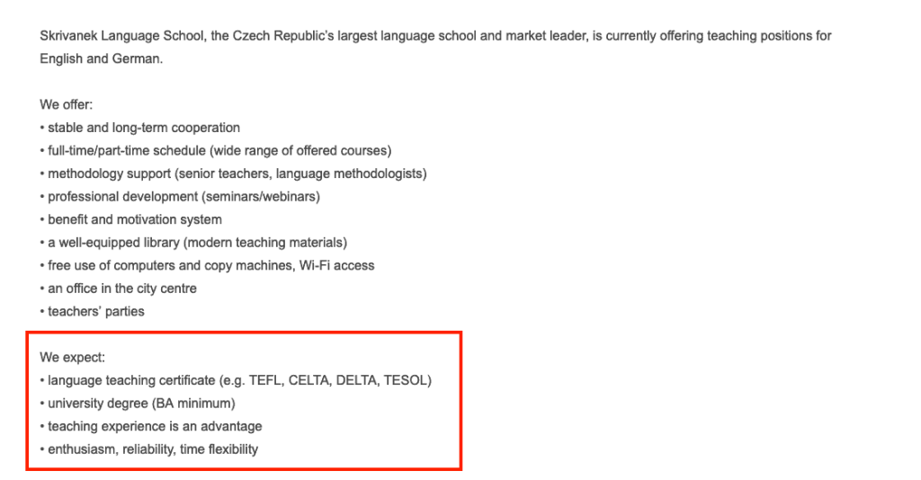 teach in prague requirements