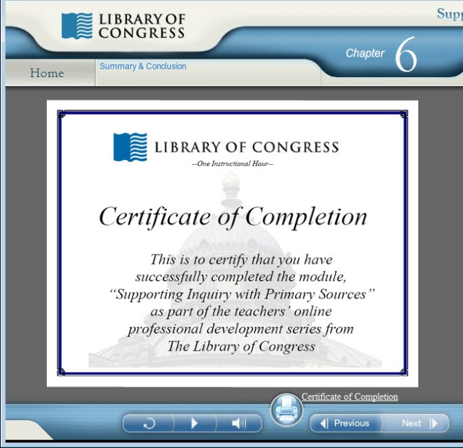 LOC Certificate of Completion