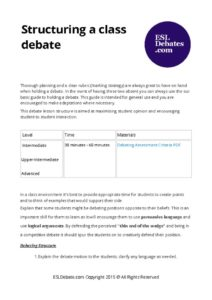 How to structure a debate, teacher reference lesson plan including debate rubric