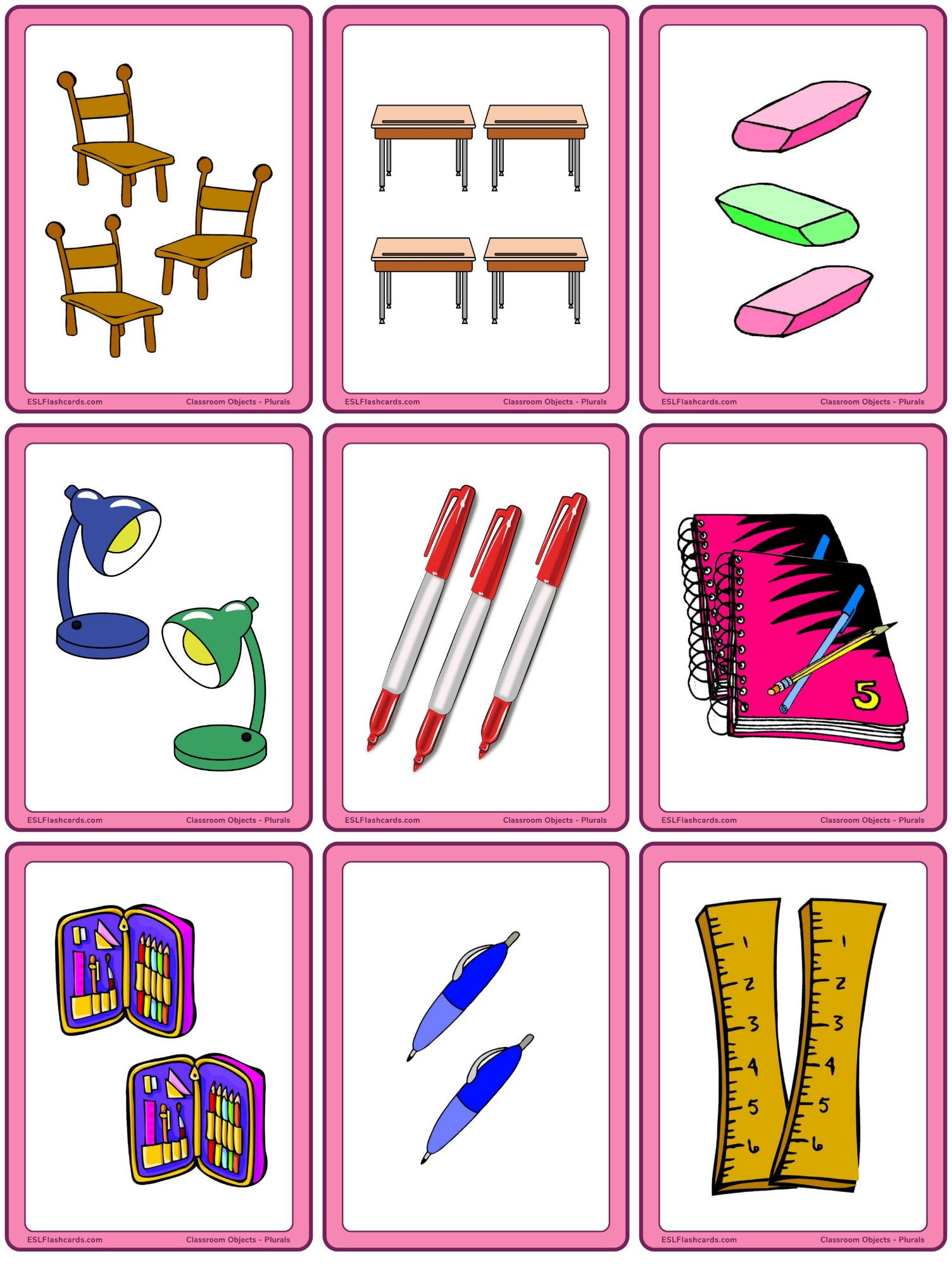 Classroom Objects Plural Nouns Esl Flashcards