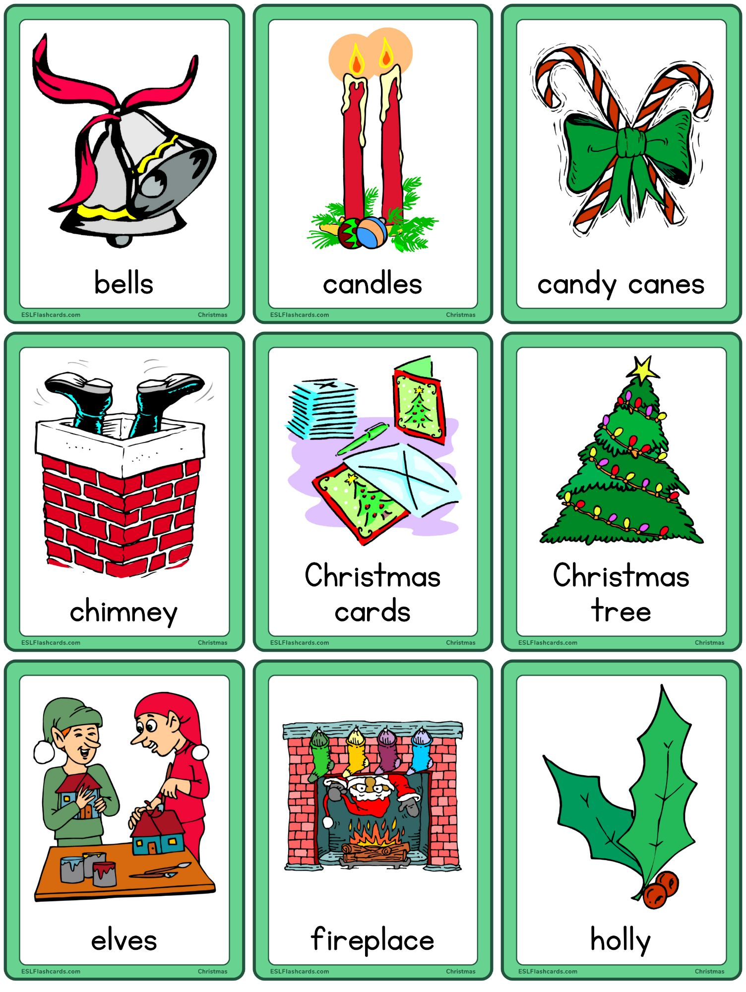 Christmas Flashcards Esl Flashcards