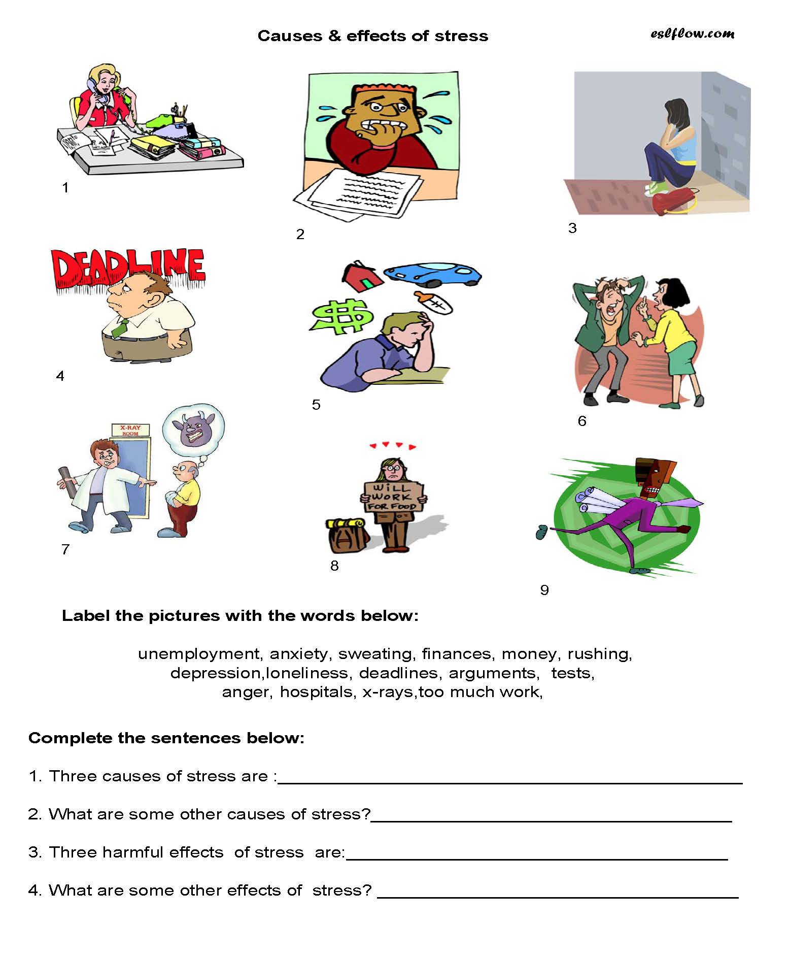 Causes Effects Of Stress Worksheet
