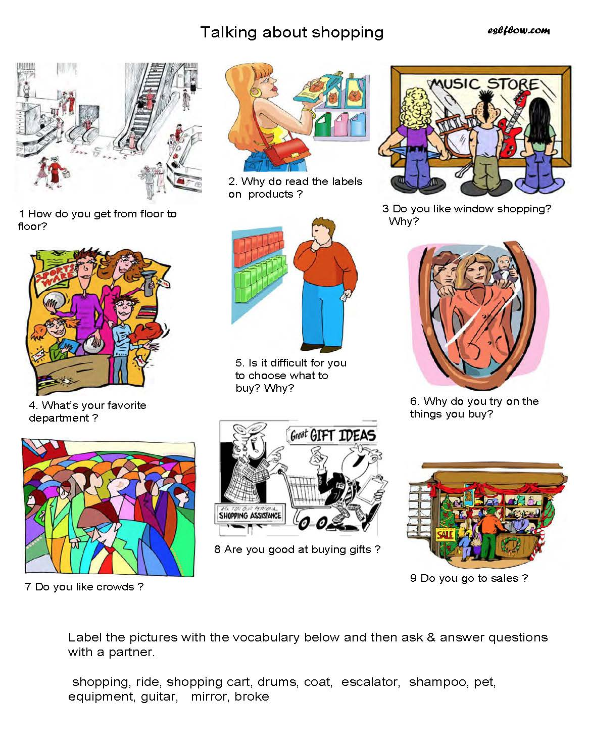 Talking About Shopping Speaking Activity For Esl Students