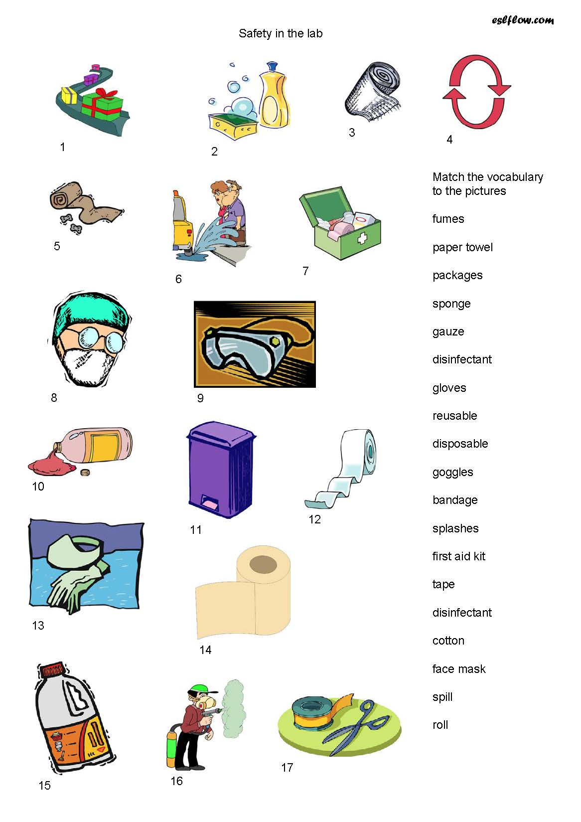 Safety Equipment Vocabulary Worksheet