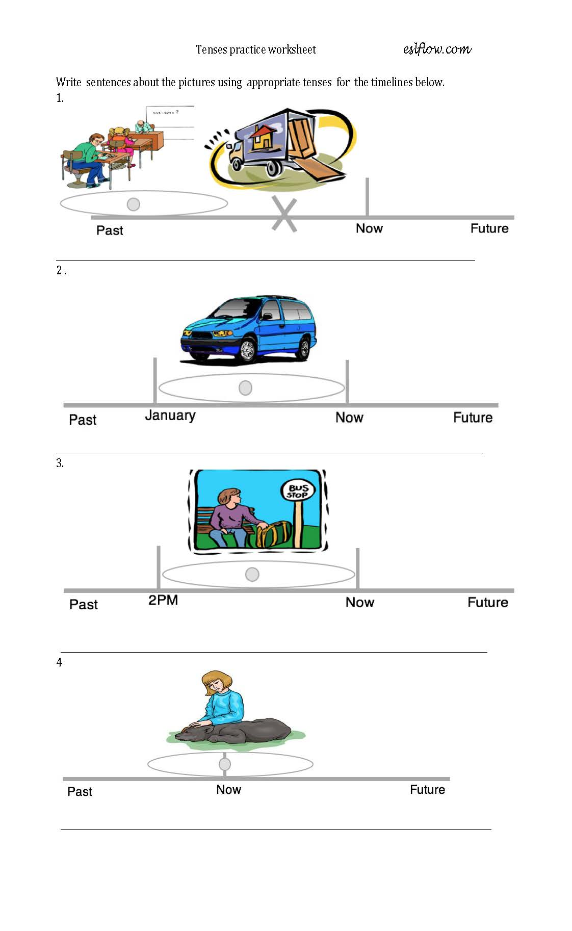 Tenses Practice Worksheet Using Timelines Amp Pictures With