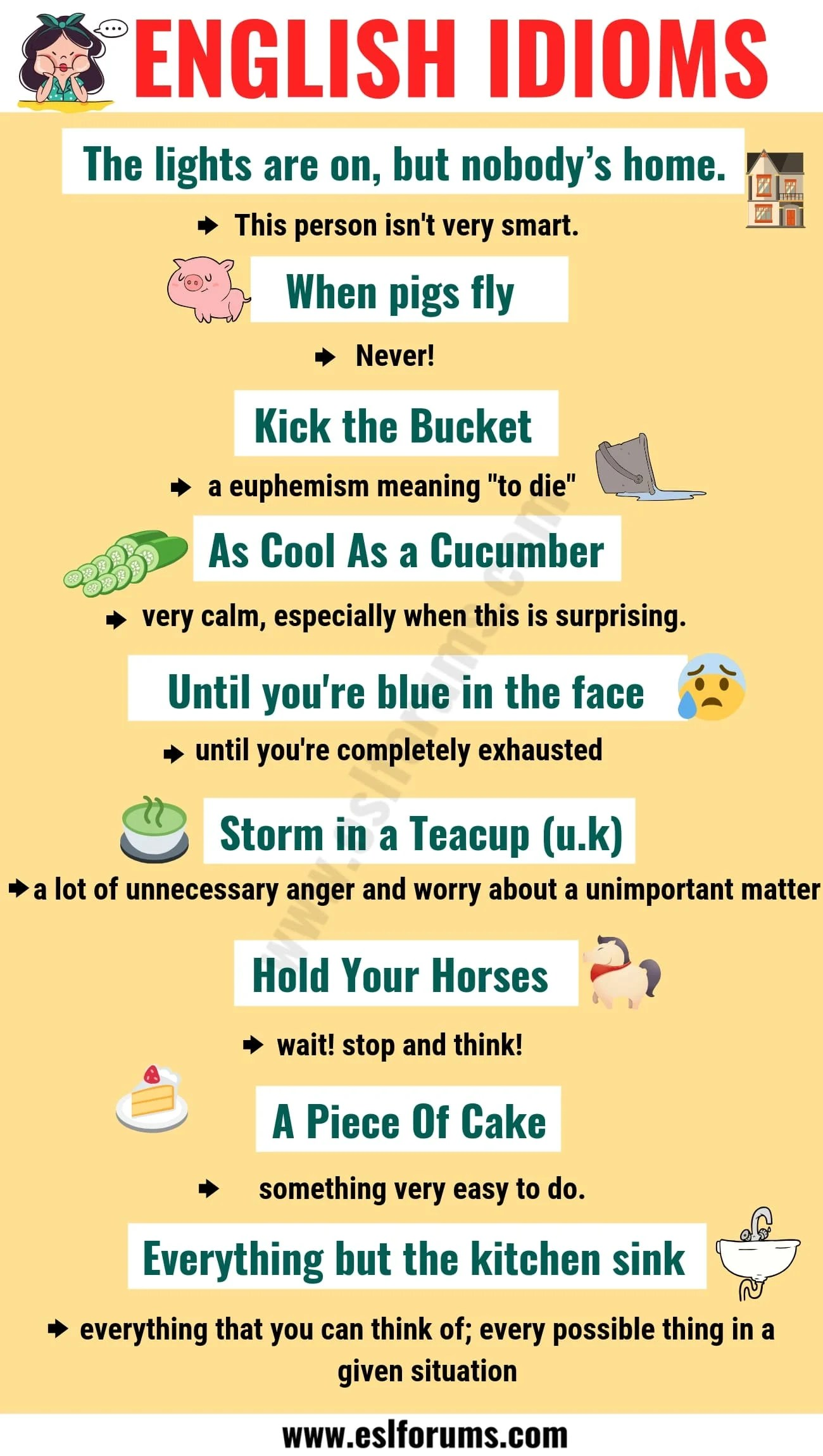 20 Idioms With Meaning