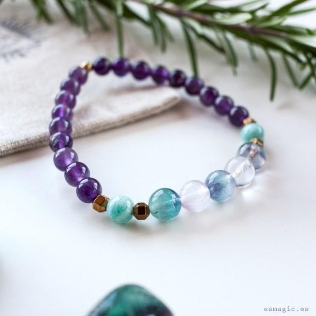 Pulsera Amatista Fluorita Esmagic Crystal Shop