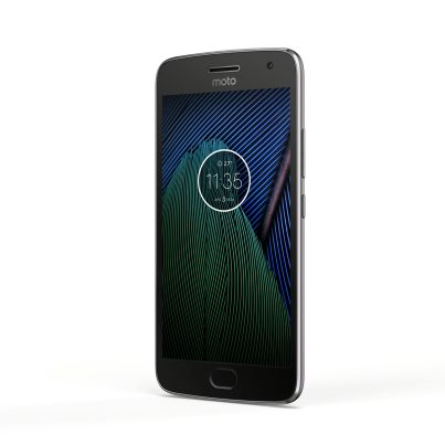 Moto G5 Plus_Black_Front_Angle_Clock Widget