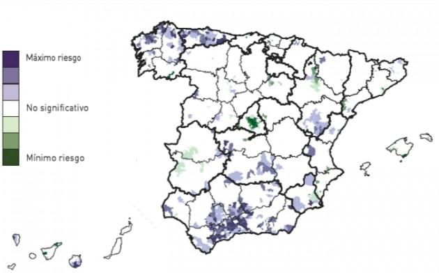 Áreas de riesgo por suicidio y lesiones autoinfligidas en hombres, 1984-2004