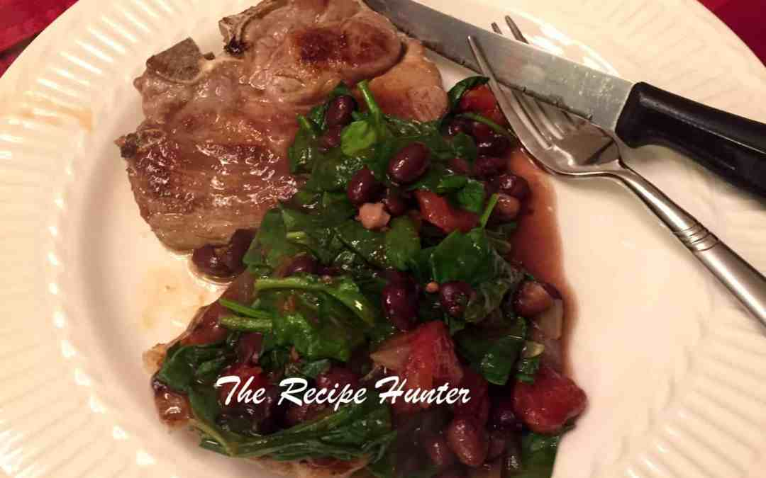 Tomato and Black Bean Sauce with a twist and chops