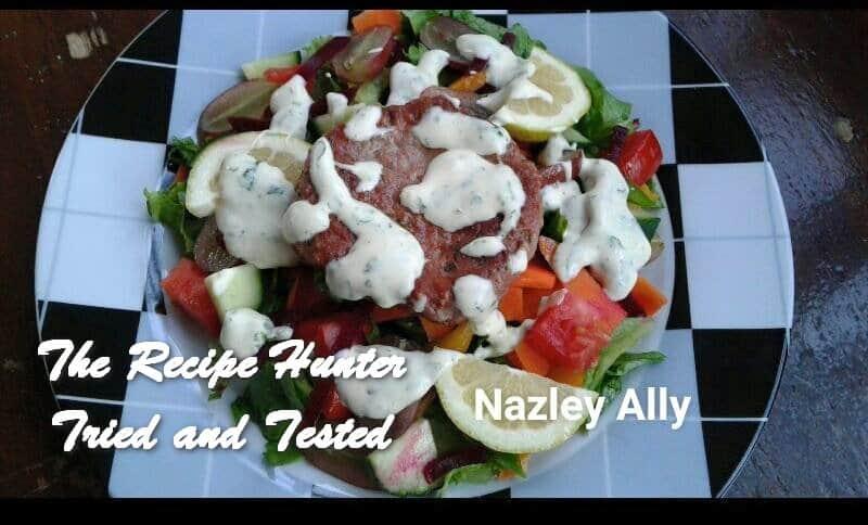 Nazley's Fresh homemade salad, beef patty and homemade corriander mayo
