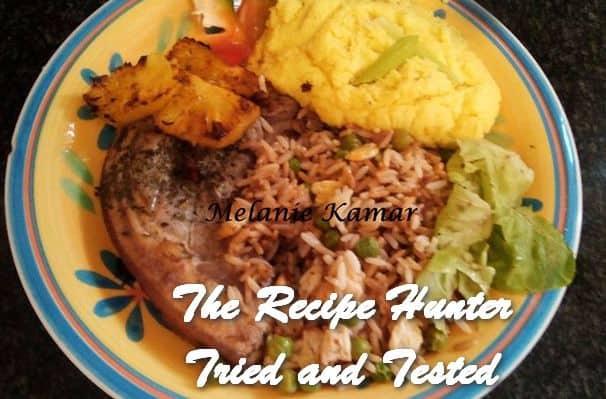Melanie's Hawaiin Grilled Pork Chops with Fried Rice