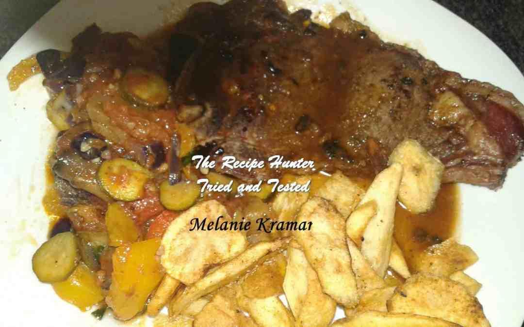 Melanie's T-Bone Steak, Chips and Ratatouille