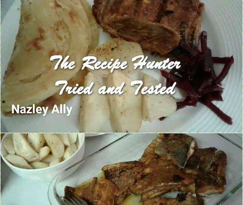 Nazley's Fried snoek with potatoes and garlic naan