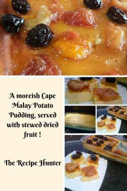 Potato Pudding with stewed fruit