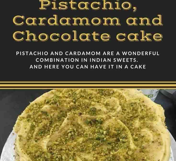 Bobby's Eggless Pistachio, Cardamom and Chocolate cake