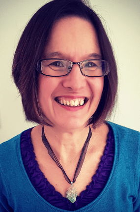 Author picture with crystal necklace