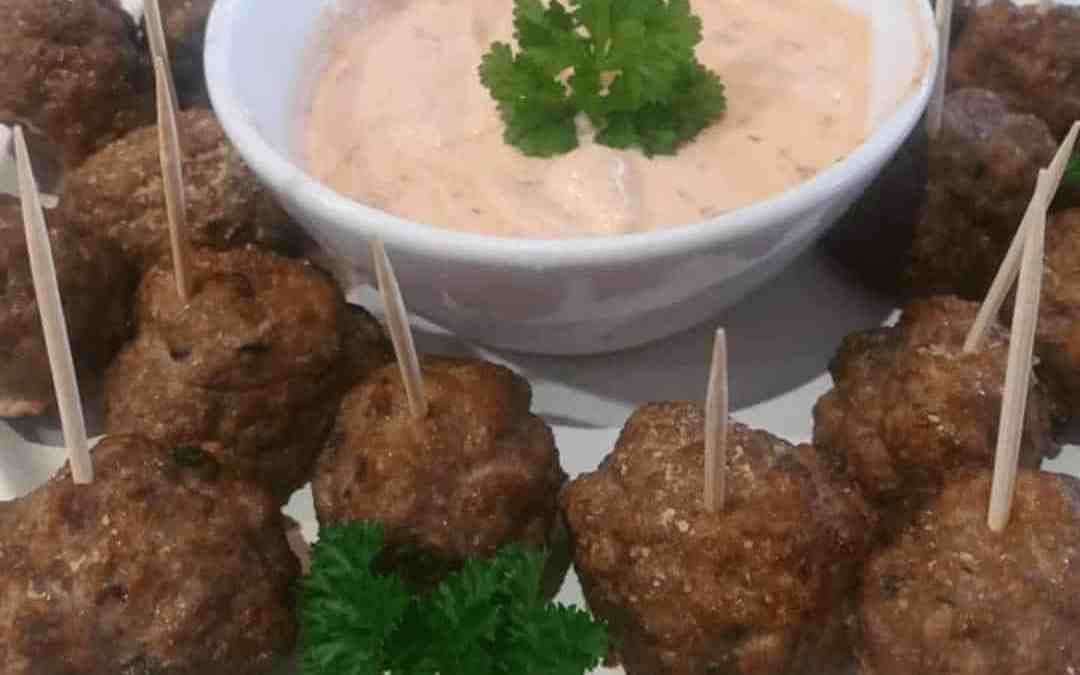 Oven Cocktail Kebab with Tangy Mayo Dip