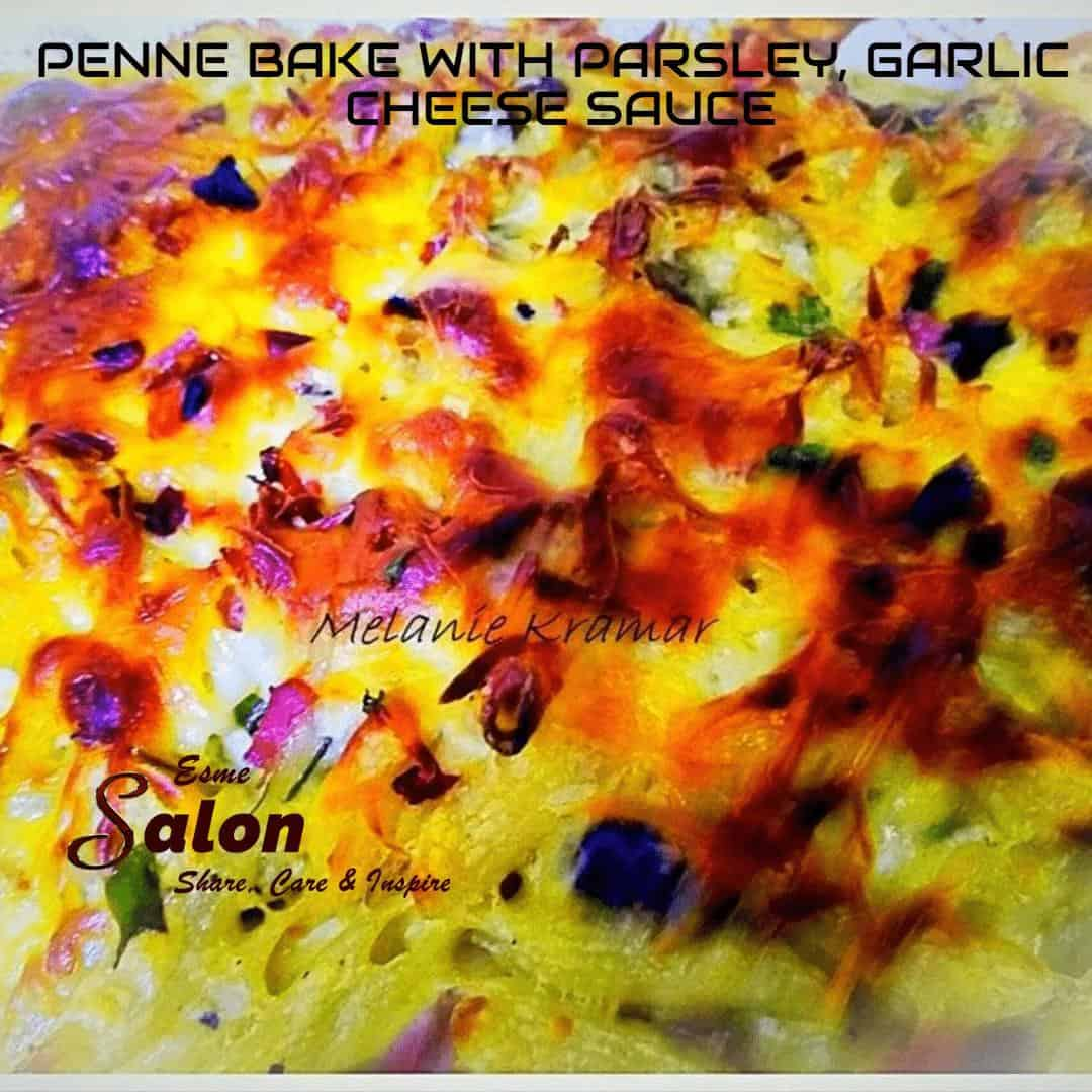 PENNE BAKE WITH PARSLEY, GARLIC CHEESE SAUCE