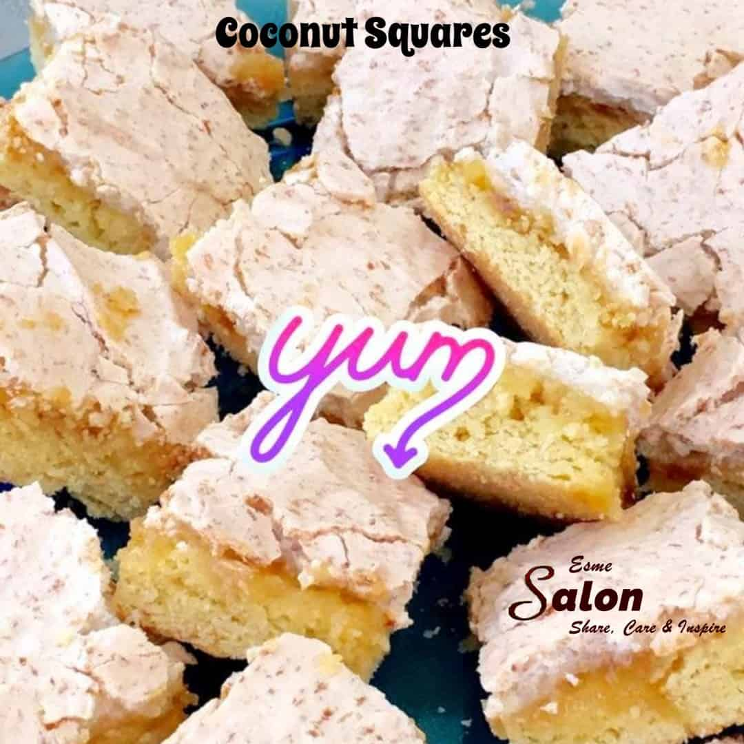 Coconut Squares, you can make it as a cake or an individual biscuit/cakes