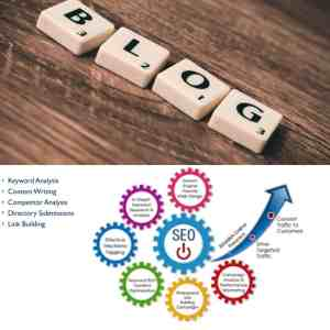 Blog written out with Scrabble Cubes above SEO image