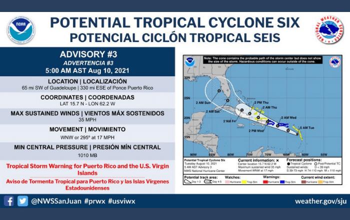 Emiten aviso de tormenta tropical