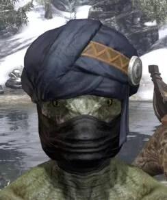 Black Kiergo Brigand Hat - Argonian Male Front