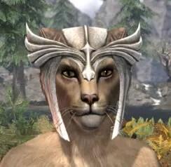 Ancestral High Elf Rawhide Helmet - Khajiit Female Front