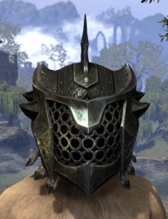 Crimson Oath Heavy Helm - Khajiit Female Front