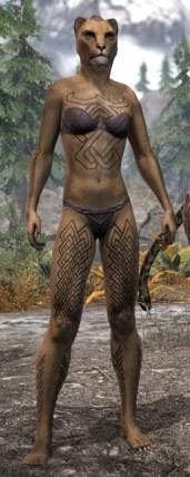 Karthwatch Guardian Body Tattoo - Khajiit Female Front