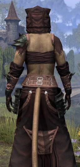 Crimson Oath Light - Khajiit Female Robe Close Rear