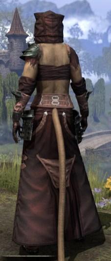 Crimson Oath Light - Khajiit Female Robe Rear