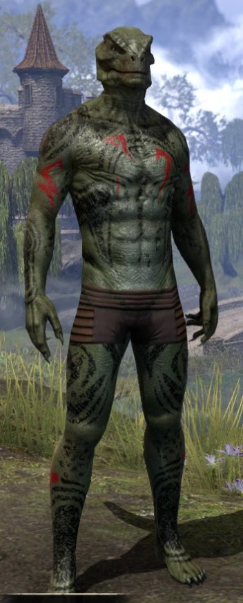 Shattered Chivalry Body Tattoo - Argonian Male Front