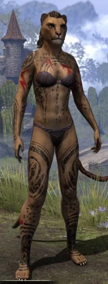 Shattered Chivalry Body Tattoo - Khajiit Female Front