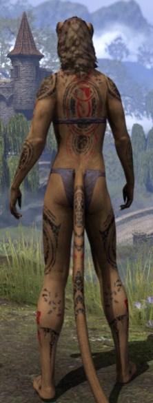 Shattered Chivalry Body Tattoo - Khajiit Female Rear