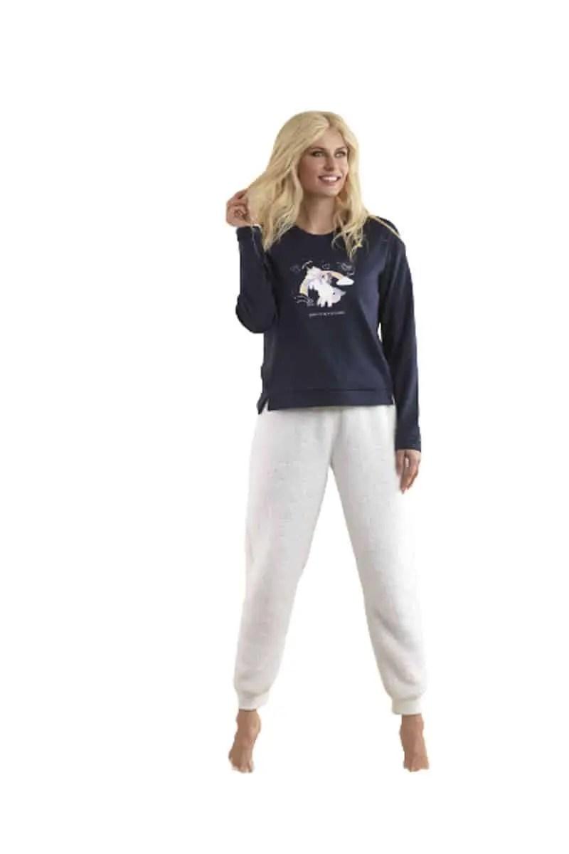 Women's Fleece Pajamas with Pants & Shorts venereblue -